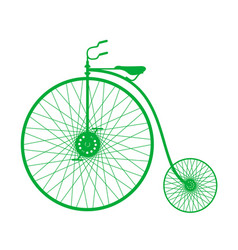 Silhouette of vintage bicycle in green design vector