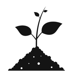 Sprout in the ground black simple icon vector