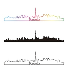 Toronto skyline linear style with rainbow vector