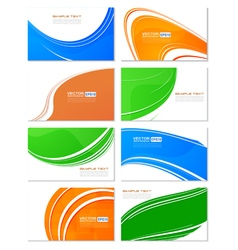 Various business card wave design set elements vector image