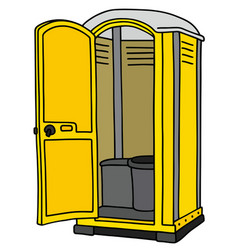 Yellow opened mobile toilet vector