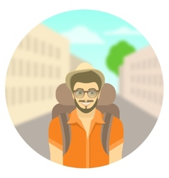 Young man tourist with a backpack on city vector image