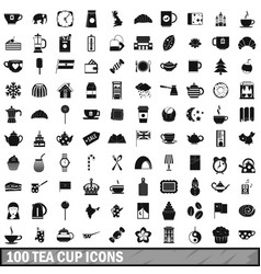 100 tea cup icons set simple style vector