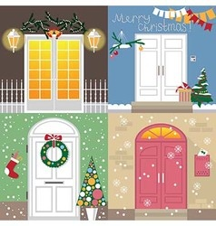doors to Christmas holiday vector image