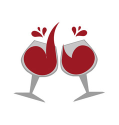 Color emblem with wine glasses vector