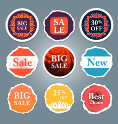 Sale tags sale banners set shopping vector