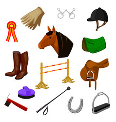 Set of equestrian and grooming icons vector