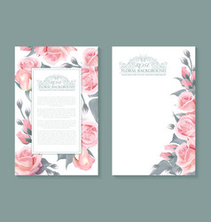 Botanical banners with pink roses vertical vector