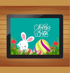Happy easter invitation with bunny egg and floral vector