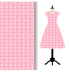 Women dress fabric with pink pattern vector