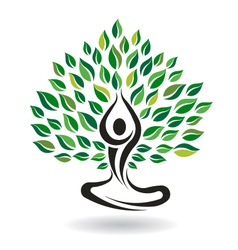 Yoga easy pose tree logo design element vector