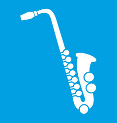 Saxophone icon white vector