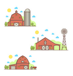 set of american farm icon vector image