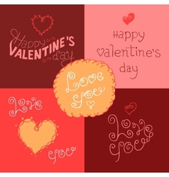 Valentines day hand-lettering labels vector