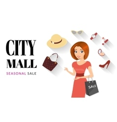 Woman doing shopping vector