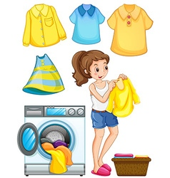 Woman doing laundry work vector