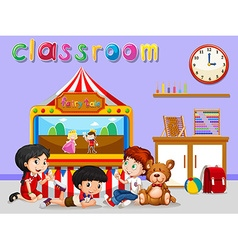 Children watching puppet in classroom vector