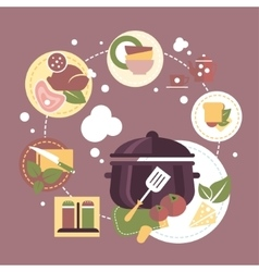 Cooking dishes infographics vector