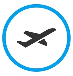 Airplane takeoff circled icon vector
