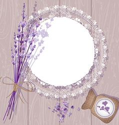 Cute bouquet of lavendars and a doily vector