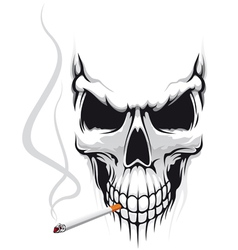 Danger skull smoke a cigarette vector image