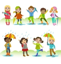 Children enjoying the rain vector