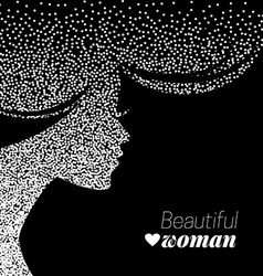 Beautiful girl silhouette of dotwork woman vector