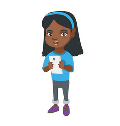 african-american girl using a smartphone vector image