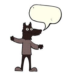 Cartoon wolf man with speech bubble vector