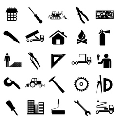 Collection flat icons construction symbols vector