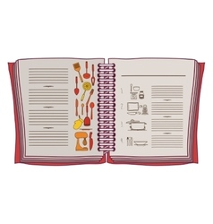 Colorful opened recipe book with spiral vector