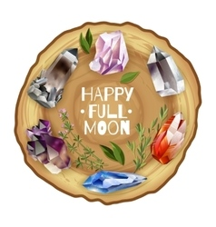 Crystals and stones full moon altar vector