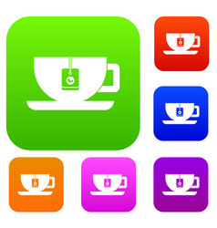 cup of tea with tea bag set collection vector image