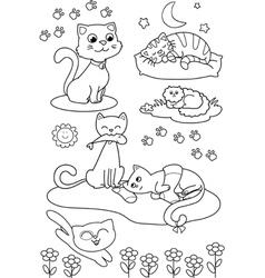 Cute cartoon cats coloring page vector image vector image