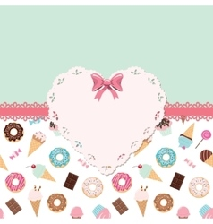 Cute template for girls with lacy doily heart vector image