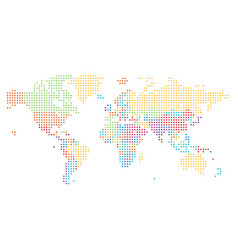Dotted world map of square dots vector