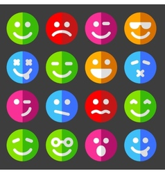 Flat and round emotion icons with smiley faces vector image