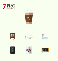 Flat icon life set of cappuccino lunch electric vector