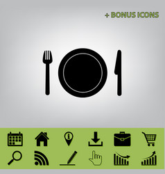 Fork plate and knife black icon at gray vector