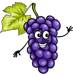 funny blue grapes fruit cartoon vector image vector image