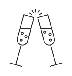 glass of champagne with bubbles vector image