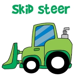 Green skid steer cartoon vector