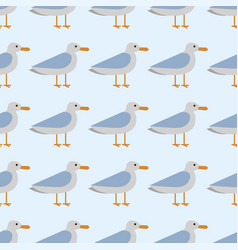 Gull flight bird and seabird sea seamless pattern vector