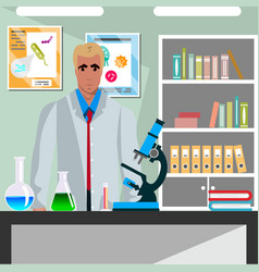 laboratory assistant man working vector image vector image