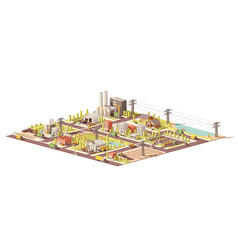 Low poly city waste management vector