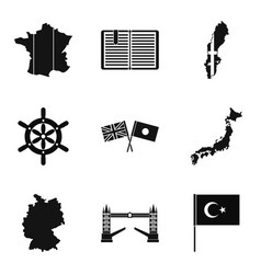 Mainland icons set simple style vector