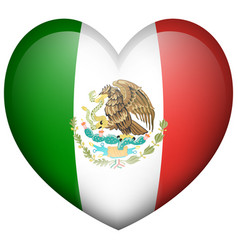 Mexico flag in heart shape vector