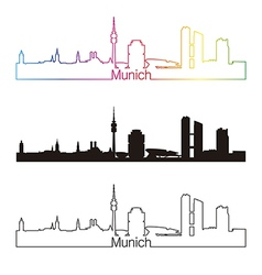 Munich skyline linear style with rainbow vector