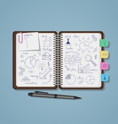 Notebook with business pen drawings vector image vector image