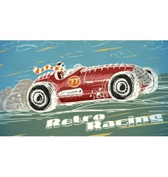 Retro racing car poster vector image